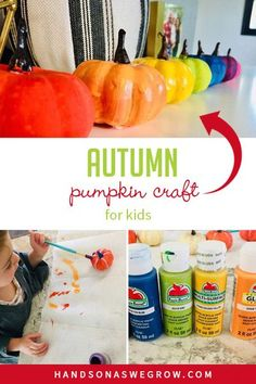Easy fall paint activity for toddlers and preschoolers to do at home. Use simple supplies to make these cute rainbow painted pumpkins! Outdoor Activities For Toddlers, Autumn Activities For Kids, Preschool Activities, Kids Fall Crafts, Leaf Crafts, Pumpkin Colors, Pumpkin Crafts, Painted Pumpkins, Toddler Preschool