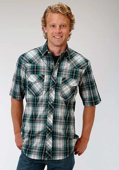 fd95df66 From Roper Men's Short Sleeve Western Style Shirt Standard 1 Pt. Front  & Back