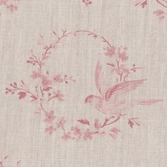 Peony & Sage Birdsong Fabric Antique Reds on Stone Linen