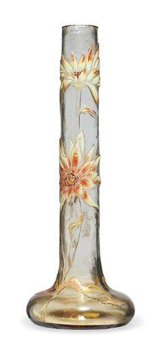 A GALLÉ ENAMELLED GLASS VASE - CIRCA 1890