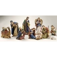 Joseph's Studio® 10 Piece Nativity Set 4 to 19 Inches tall Christmas Nativity Set, Nativity Sets, Catholic Store, Turquoise Christmas, The Birth Of Christ, Christmas Trends, Small Baby, Christmas Central, Inspirational Gifts