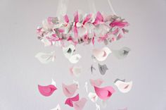 Pink & Gray Bird Nursery Mobile Shower Gift by LoveBugLullabies, $63.00