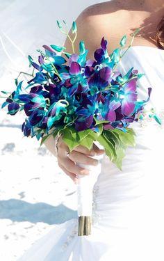 Artificial blue Galaxy orchids, blue, purple, aqua, ivory ...