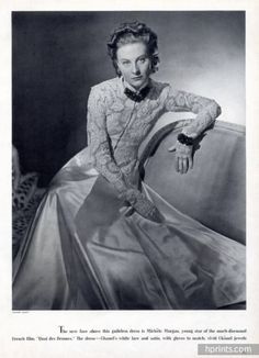 Chanel 1939 Evening Dress & Chanel Jewels Michèle Morgan
