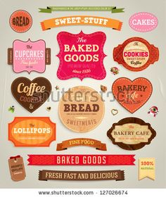 stock vector : Set of retro bakery labels, ribbons and cards for vintage design, old paper textures
