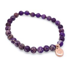 Hand crafted purple sea sediment jasper beads with single rose gold bead and signature GJ pendant #jewellery #style #fashion #bracelets #bangles #gold #rosegold #silver #mensjewellery #womensjewellery #unisex #mensstyle
