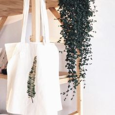 Handmade Green Plant Tote Bag