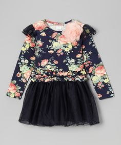 Budding little ladies will be twirl-ready in this floral frock. A ruffled top with a flower at the collar and a poufy bottom pair nicely for an extra-girly look. 95% cotton / 5% spandexHand wash; dry flatImported