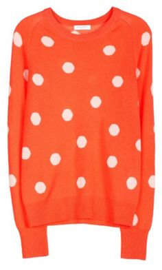 orange and white spotty sweater, pair with navy pants, and fab accessories!