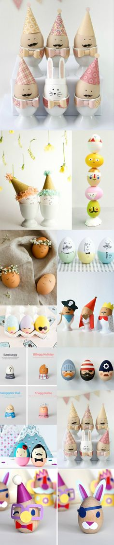 I have a new favorite thing, it's eggs with faces on them! How cute are all these guys (Diy Decorations) Spring Crafts, Holiday Crafts, Holiday Fun, Hoppy Easter, Easter Eggs, Deco Kids, Easter Celebration, Egg Art, Diy Décoration
