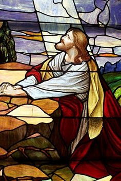 Religious Stained Glass Windows | Jesus agonizing prayer before the Father in the Garden of Gethsemene before His crucifixion.
