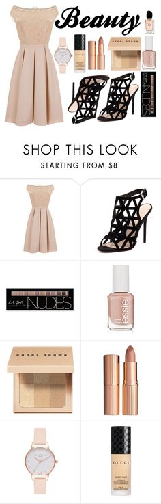 """""""Beauty"""" by a-hidden-secret ❤ liked on Polyvore featuring Little Mistress, RMK, Charlotte Russe, Essie, Bobbi Brown Cosmetics, Charlotte Tilbury, Olivia Burton, Gucci and Armani Beauty"""