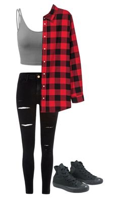 """""""Untitled #209"""" by sleepingwithrazors ❤ liked on Polyvore featuring Doublju, River Island, H&M and Converse"""
