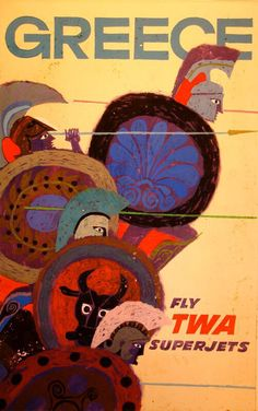 Vintage TWA Travel Poster by David Klein: Greece Tourism Poster, Poster Ads, Old Posters, Vintage Travel Posters, Vintage Airline, Airline Travel, Travel Europe, Travel Illustration, Art File