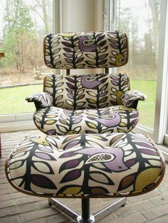Eames Style Chair, redone beautifully.  Fabric is KAS Oslo Amethyst, $44.99 - http://www.joann.com/home-decor-print-fabric-kas-oslo-amethyst/zprd_10174415a/