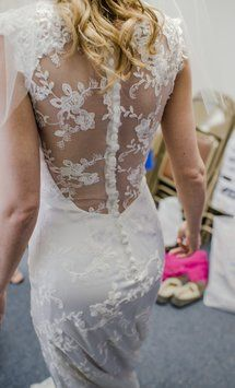 Custom-Made Illusion Back Sweetheart Neckline W/ Lace Straps/ Sleeve Overlay A-line Lace Wedding Dress $215