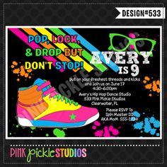 HIP HOP DANCE Party Invitation or Thank You by PinkPickleParties, $10.00