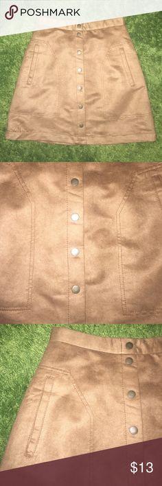 Selling this Tan Button Down Mini Skirt on Poshmark! My username is: merci_mercury. #shopmycloset #poshmark #fashion #shopping #style #forsale #H&M #Dresses & Skirts