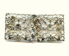 Vtg 1930s Lacy Stamped Filigree Clr Rhnstn Silver Plated 2 Part Thin Belt Buckle  $14.95