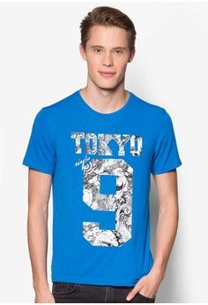 Tokyo 9 Graphic T-Shirt from UniqTee in blue_1