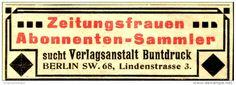 Original-Werbung/Anzeige 1906 - ZEITUNGSFRAUEN / ABONNENTEN / BUNTDRUCK BERLIN - ca.  80 x 30 mm