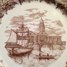 Vintage (c.1978) Set of 12 Wedgewood Ferrera Sailing Ship Dinner Plates in Brown Transferware.  Made in England.  MINT!