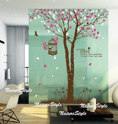 Tree with Flying Birds nursery wall decal baby wall by NatureStyle, $72.00