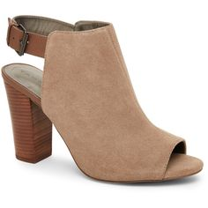 Tahari Cabin Taupe Margaret Peep Toe High Heel Open Back Booties ($65) ❤ liked on Polyvore featuring shoes, boots, ankle booties, green, peep-toe boots, faux-fur boots, taupe ankle booties, peep toe booties and high heel boots