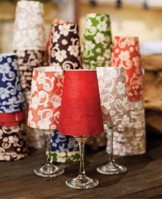 DIY Votive Wine Glass Lampshades #DIY #lampshades #votives