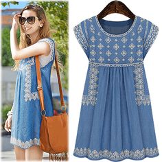 Enter Free Shipping Code : XH1KTDMQ Hollywood Inspired Lara Sleeveless Embroidery Dress – One Size [ Jun11608NS ] - $47.00 #onselz