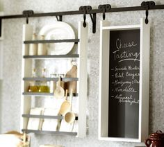 Wall units by Pottery Barn.  Markson Rolling Modular Storage - $59.00 »  Reminiscent of a rolling door, this space-saving beauty has tons of potential for any room in the house. Use it in the kitchen, the pantry, a playroom or even the dining room.