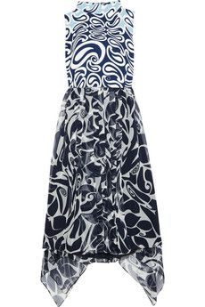 Miu Miu Printed crepe and silk-chiffon mini dress | NET-A-PORTER What is it with Miu Miu this season?! Spectacular!!