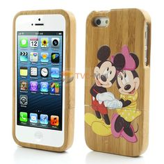#Mickey & Minnie Painted Genuine Wood Hard Case Cover for iPhone 5