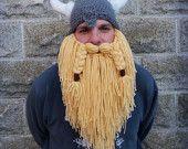 Viking hat/ viking helmet with full beard