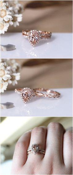 1ct Pear VS Morganite Ring Set 2PCS Engagement Ring Set Solid 14K Rose Gold Ring Set Wedding Ring Set