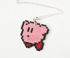 Pixel Kirby necklace  Nintendo hama perler bead by FrozenCrafts