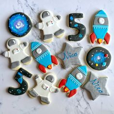 2nd Birthday Party Themes, Boy First Birthday, First Birthday Parties, First Birthdays, 5th Birthday Ideas For Boys, Galaxy Cookies, Space Baby Shower, Outer Space Party, Moon Party