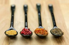 Spoons full of spices - stock photo Raw Food Recipes, Cereal, Spices, Breakfast, Tableware, Macro Photography, Morning Coffee, Dinnerware, Raw Recipes