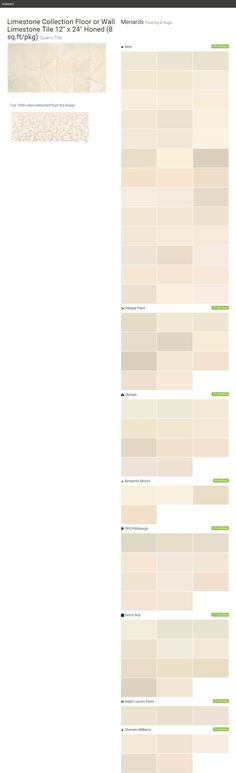 """Limestone Collection Floor or Wall Limestone Tile 12"""" x 24"""" Honed (8 sq.ft/pkg). Quarry Tile. Flooring & Rugs. Menards. Behr. Valspar Paint. Olympic. Benjamin Moore. PPG Pittsburgh. Dutch Boy. Ralph Lauren Paint. Sherwin Williams.  Click the gray Visit button to see the matching paint names."""