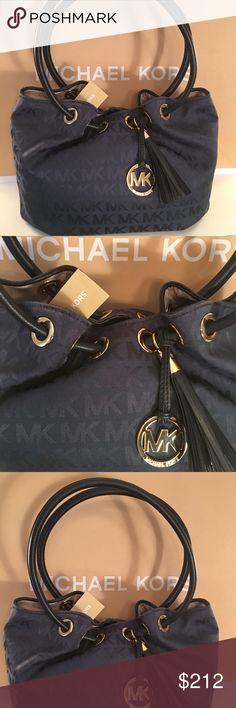 MICHAEL KORS NEW NAVY SHOULDER BAG 100% AUTHENTIC MICHAEL KORS NEW NEVER USED WITH TAGS NAVY AND GOLD SHOULDER BAG. WHAT A STUNNING BAG AND PERFECT FOR EVERY OCCASION.  NAVY BLUE WITH EYE CATCHING GOLD HARDWARE. THE BAG MEASURES 14 INCHES WIDE BY 9 INCHES TALL WITH A 9 INCH SHOULDER STRAP Michael Kors Bags Shoulder Bags