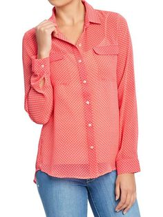 Old Navy | Women's Printed-Chiffon Blouses