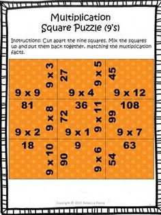 FREE puzzle! (9's multiplication table). This is a fun and simple game puzzle. Simply print and cut out the pieces. Students use basic multiplication fact knowledge to put the puzzle back together again. Great for early finishers or a math center! $ #multiplication #puzzle