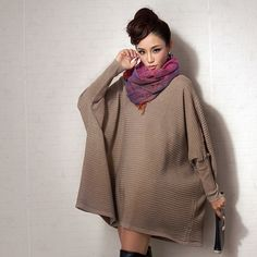 Free shipping-2015  street fashion medium-long women's sweater cloak loose plus size shirt and dress