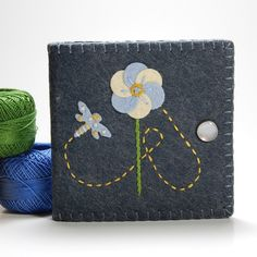 Grey with Blue Flower and Dragonfly Wool Felt Needle Book by TheBlueDaisy, via Flickr