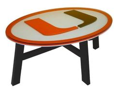 University of Miami Hurricanes Wood Coffee Table With Glass Cover