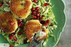 Shredded Brussels Sprouts Salad with Fried Goat Cheese
