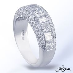 JB Star wedding band with princess, straight baguettes and round diamonds.  Available at Alson Jewelers.