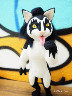 Gene Simmons The Kiss cat felted wool toy от FeltedTree на Etsy