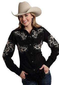Roper® Womens Black Leafy Vines Embroidered Smile Pocket Long Sleeve Snap Old West Shirt Cowgirl Shirts, Cowboys Shirt, Western Shirts, Country Outfits, Western Outfits, Plus Size Cowgirl, Western Wear For Women, Southern Girls, Cowboy Hats
