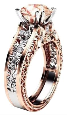 Bokeley Rings, Valentine's Day Fashion Women Color Separation Rose Gold Engagement Wedding Floral Ring (Multicolor, US: Platinum Wedding Rings, Wedding Rings For Women, Platinum Ring, Types Of Wedding Rings, Wedding Band Styles, Wedding Ring Designs, Wedding Bands, Floral Engagement Ring, Engagement Rings